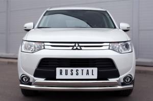 Mitsubishi Outlander 2014- Защита переднего бампера d63 (секции) d75х42 (дуга) MORZ-001890